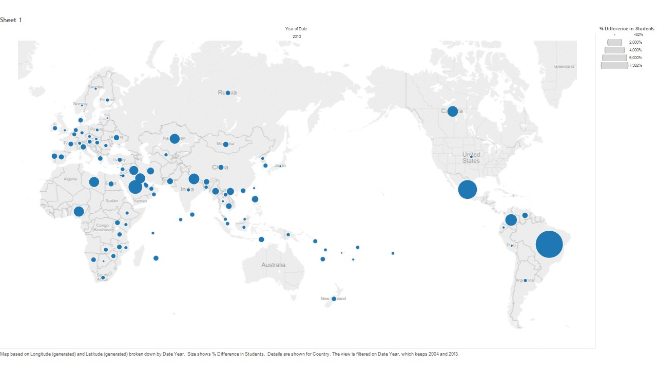 Overseas students map