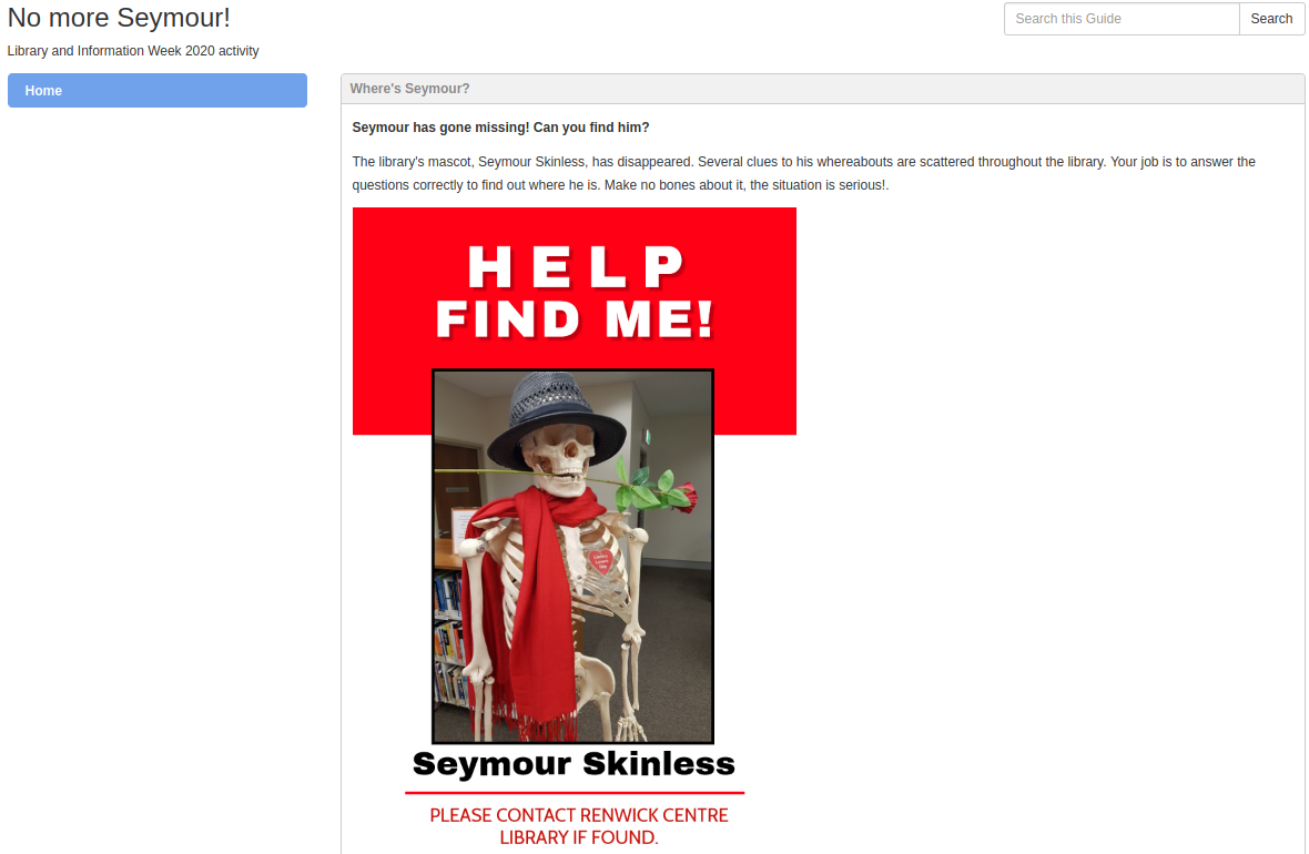 Screenshot of the launch page of the activity, incuding a photo of Seymour Skinless.